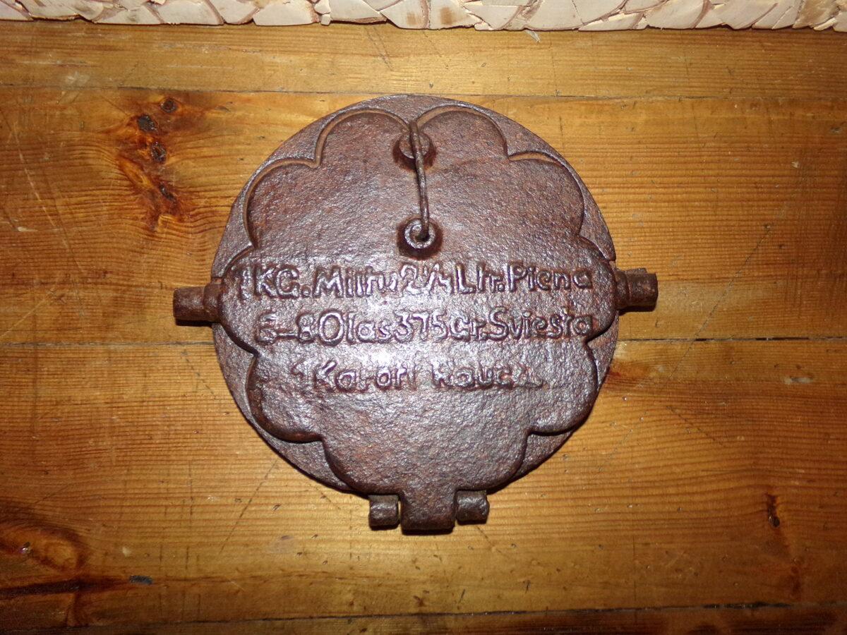 Чугунная вафельница с изображением рецепта. Латвия. 1920-тые года.
