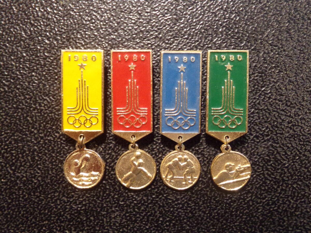 4 значка Москва-80. СССР.