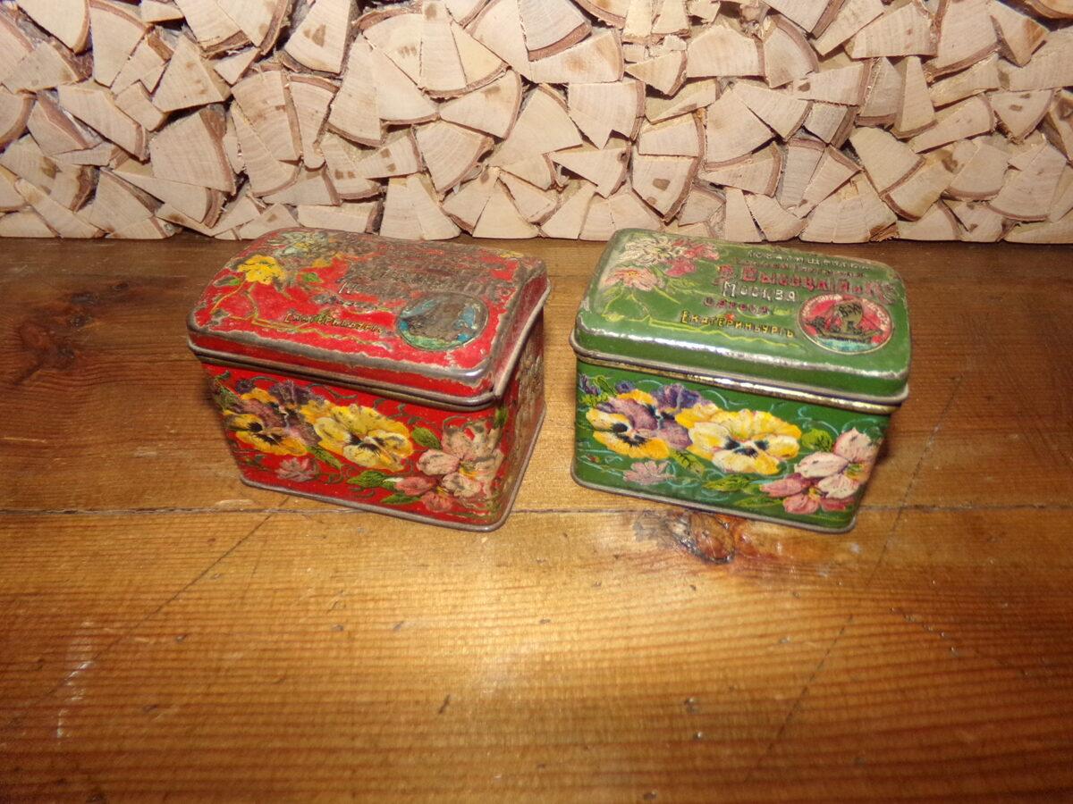 Две жестяные коробки из под чая. Российская империя. Начало 20 века.