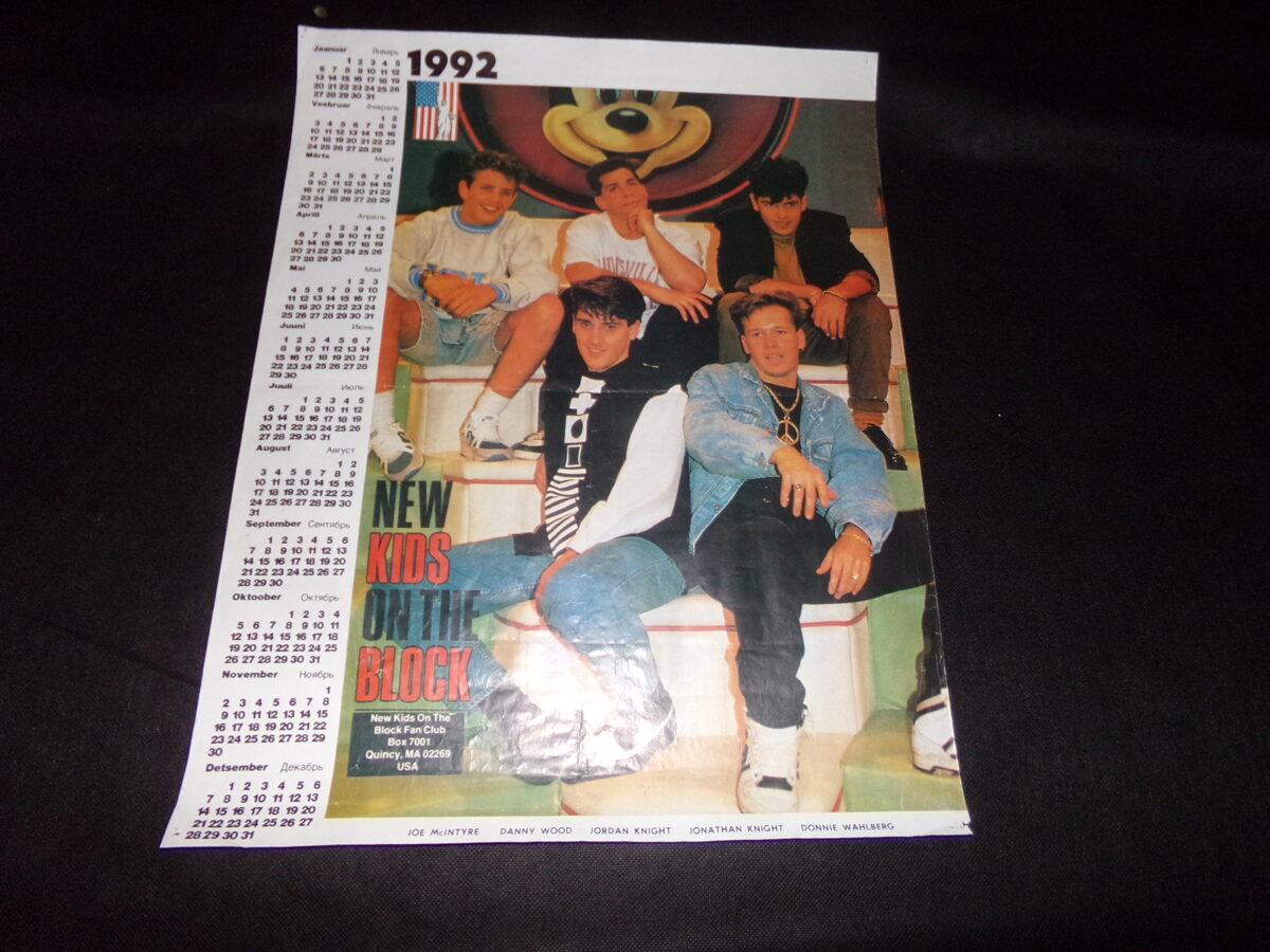 Плакат с календарем на 1992 год группы NEW KIDS ON THE BLOCK