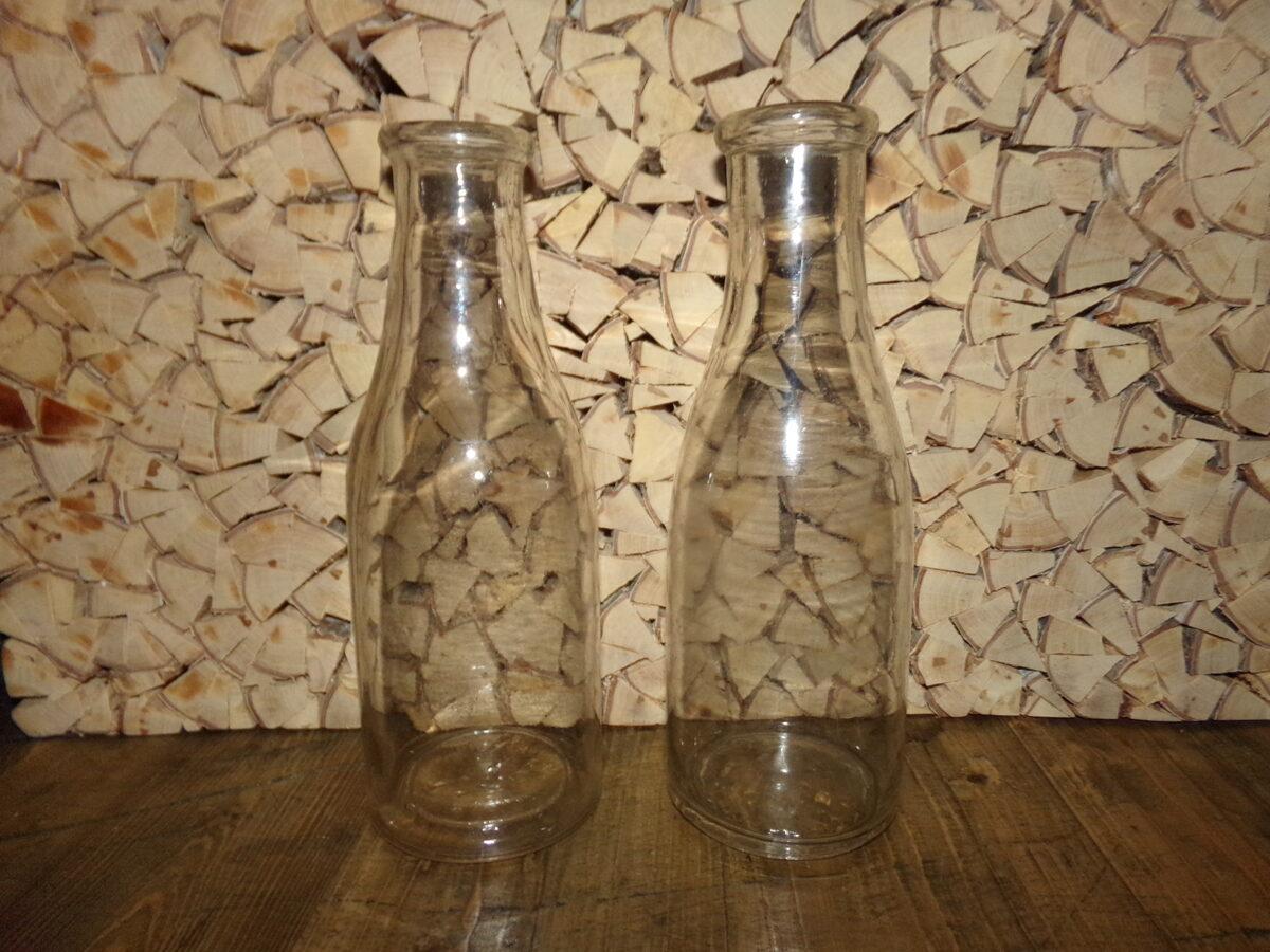 Стеклянные бутылки для молока. Объем 1 литр. Латвия. 1930-тые года.