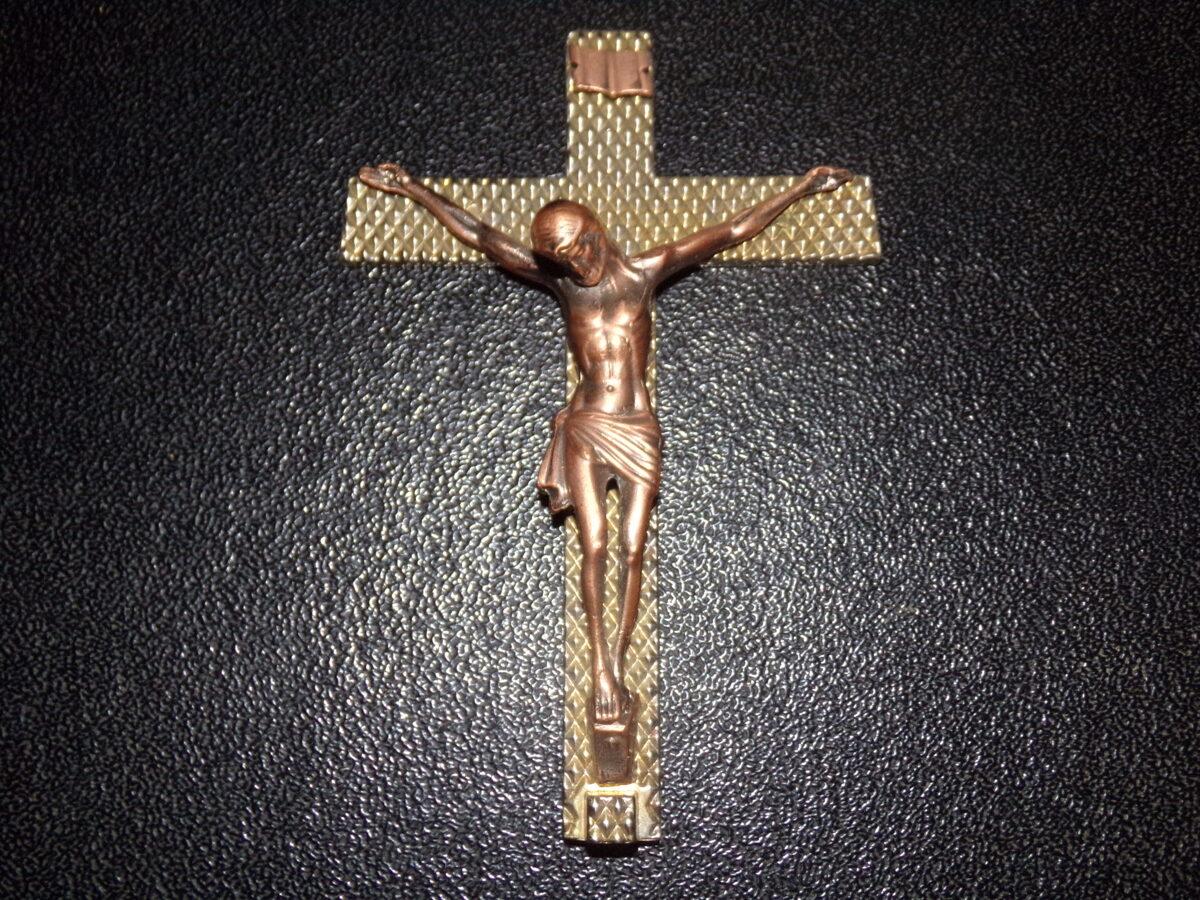 Католическое распятие. Медное литье. Бронзовый крест. Восточная Латвия. 19 век.