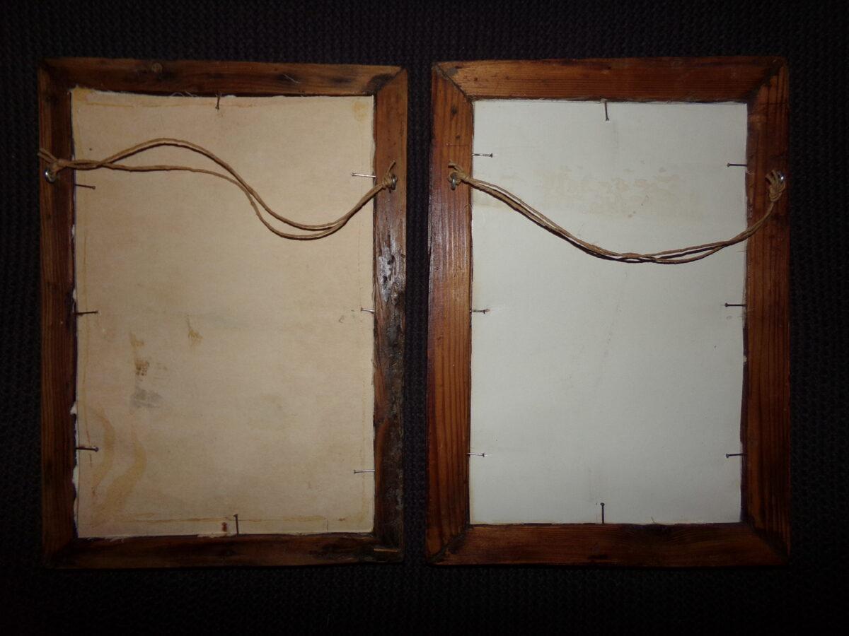 Две вышивки в рамках под стеклом. Восточная Латвия. Начало 20 века.