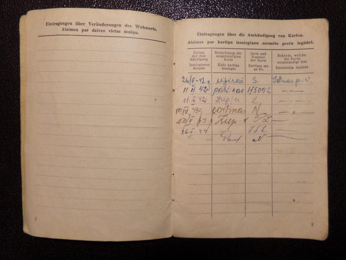 Расчетная книжка. Латвия. 1943-44 года.