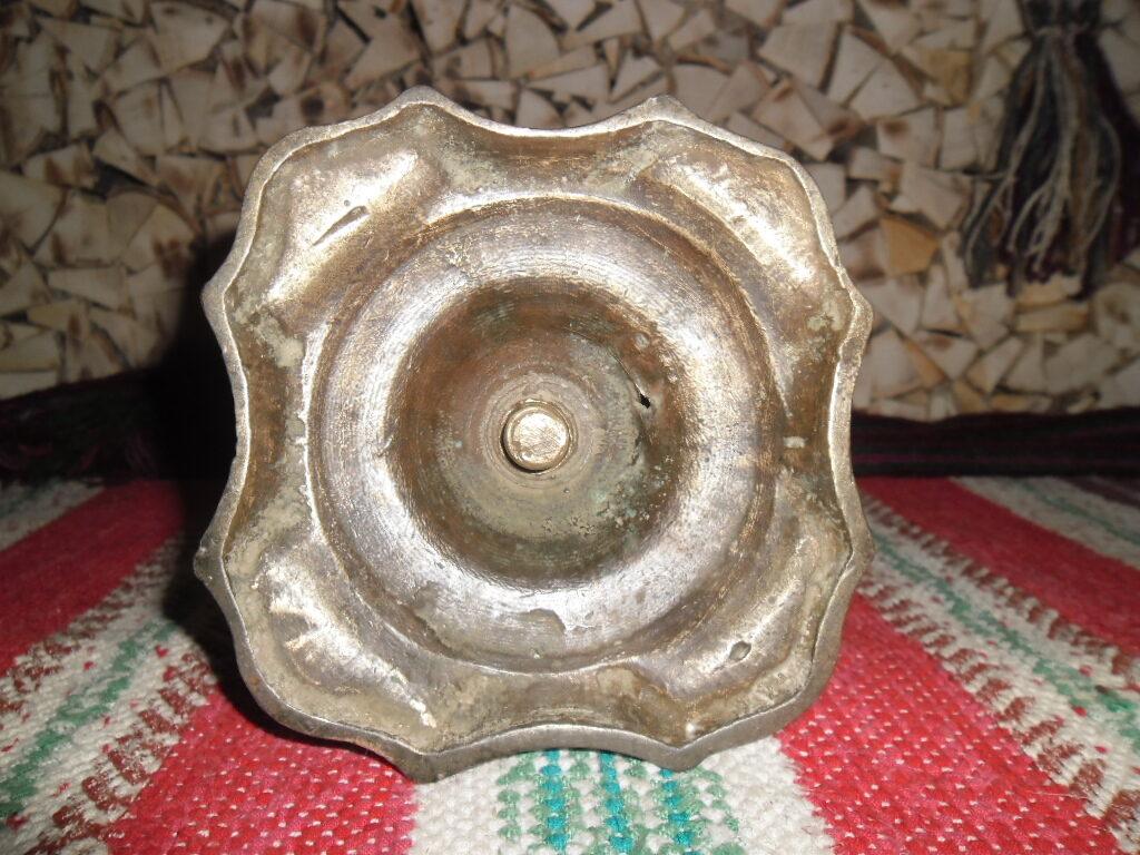 Старинный подсвечник. Сплав меди с серебром. Россия. 19 век.