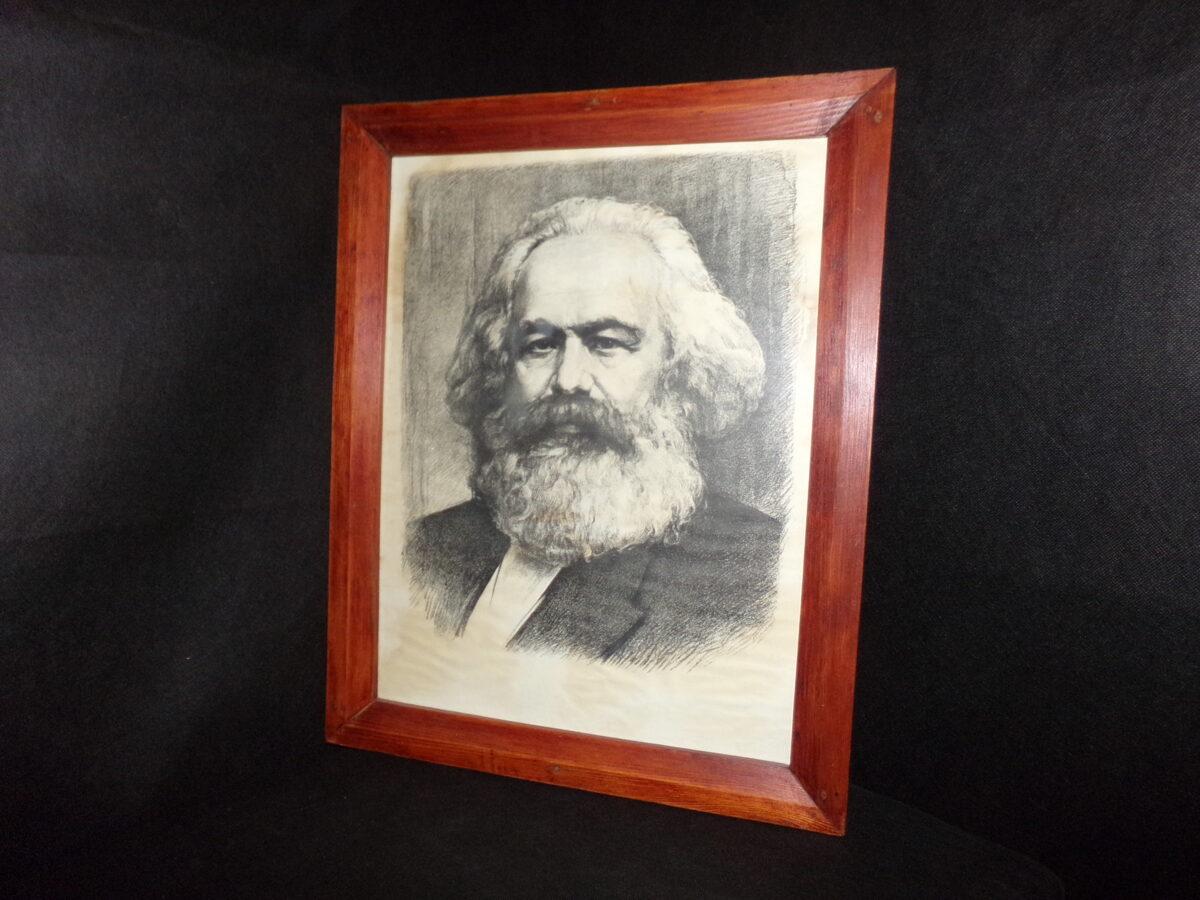 Marksa portrets. Litogrāfija. Rāmāi, zem stikla. PSRS.