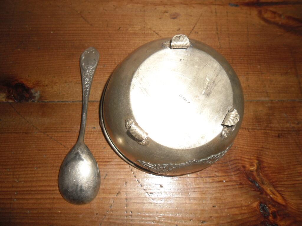 Сахарница с ложкой. Мельхиор. Латвия. 1930-тые года.