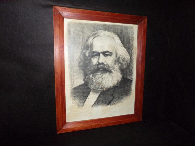 Портрет Маркса. Литография в раме под стеклом. СССР.