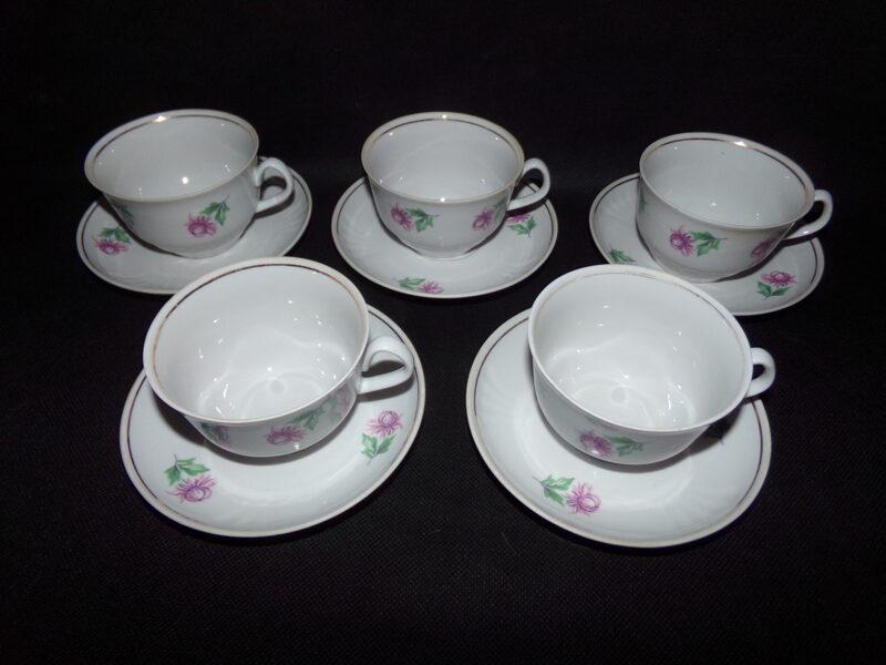 Пять чашек с блюдцами. Советская Латвия. 1980-тые года.