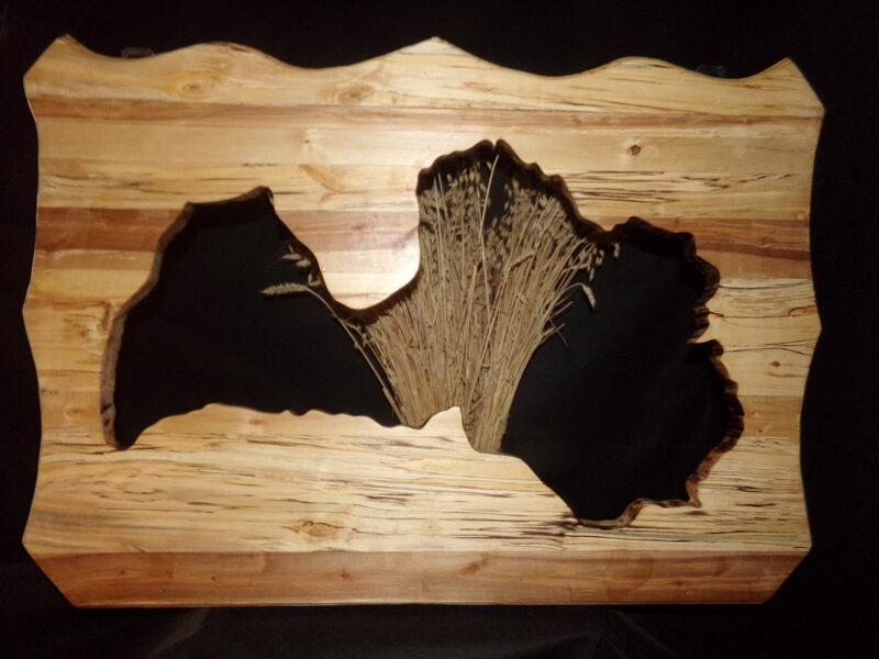 Контур Латвии вырезанный в деревянной панели.